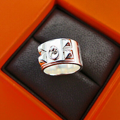 b8ad7a35971db NIB AUTHENTIC HERMES CDC Collier de Chien 18K Rose Gold Ring PM Size ...