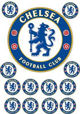 CHELSEA FOOTBALL LOGO Edible Cup Cake Topper Icing Or Wafer Birthday Party