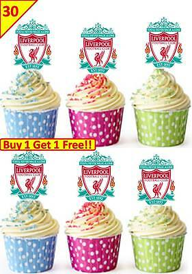60 LIVERPOOL FOOTBALL LOGO Edible Cup Cake Toppers Premium Wafer Rice *STAND UP