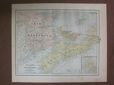 1888 Antique Color Map of Canada Maritimes + S. Ont., Queb, from Gaskell's Atlas