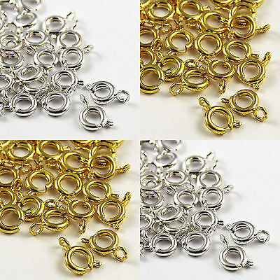 50 Metal BOLT RING CLASPS Gold Silver Plated Jewelry Finding 6mm Making Craft