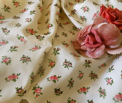 Vintage Small Scale Roses Pansie Floral Cotton Blend Fabric ~ rose brown green