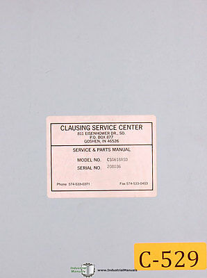 Clausing CSG618ASD, Grinder Operations Parts and Electrical Manual