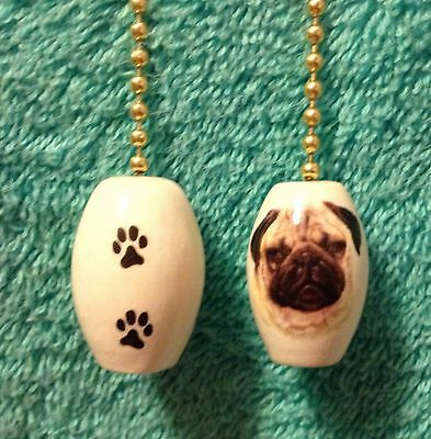 """One Pug Dog Fan Pull With Paw Prints On The Back 1"""""""