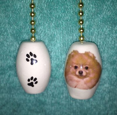 """One Pomeranian Dog Fan Pull With Paw Prints On The Back 1"""""""