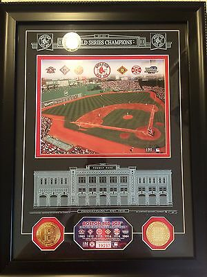 Boston Red Sox 2004 World Series Commemorative Etched Glass Plaque Coins Fenway
