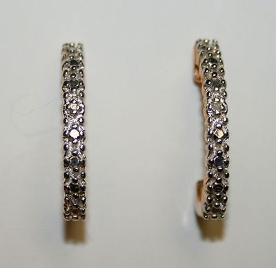 Sterling Silver .925 Gold Tone Half Hoop Diamond Chip Pierced Ear Earrings