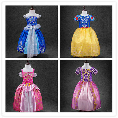 Kids Girl Princess Aurora Rapunzel Cinderella Snow White Cosplay Dress Xmas 2-8T
