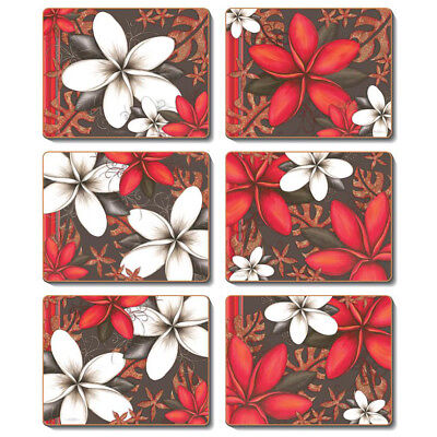 ESSENCE Set of 6 Placemats and Coasters Lisa Pollock Cork Back Flowers