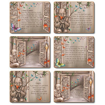 PATHWAYS OF LIFE Set of 6 Placemats and Coasters Lisa Pollock Cork Back