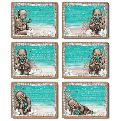 BEACH MONK - Set of 6 Placemats and Coasters - Lisa Pollock - Cork Back