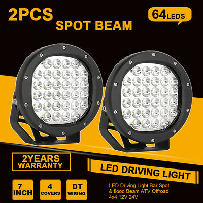 28800W 7inch CREE LED Driving Work spotlight round lamp Offroad black 4WD Truck