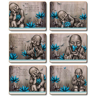 From the Soul Monk Blue Set of 6 Placemats and Coasters - Lisa Pollock