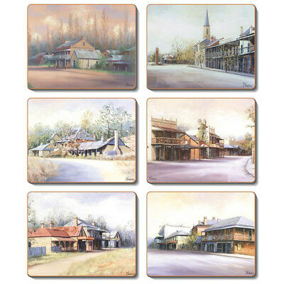 Country Towns - Set of 6 Placemats and Coasters - Cinnamon Cork Backed
