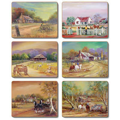 Homesteads - Set of 6 Placemats and Coasters - Cinnamon Cork Backed