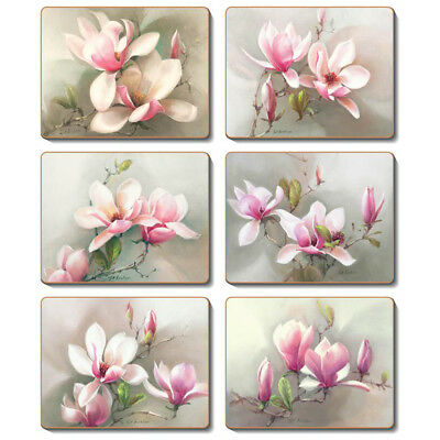 Magnolias - Set of 6 Placemats and Coasters - Cinnamon Cork Backed