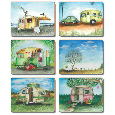 Vintage Caravan - Set of 6 Placemats and Coasters Cork Backed