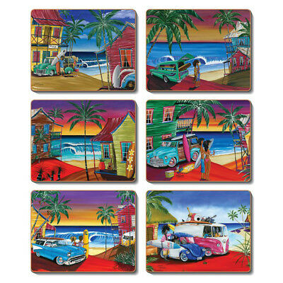 Wish You Were Here - Set of 6 Placemats and Coasters Cork Backed