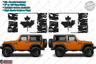 (2) Flag of Canada Grunge Maple Leaf Distressed Vinyl Decals fits: Jeep Wrangler
