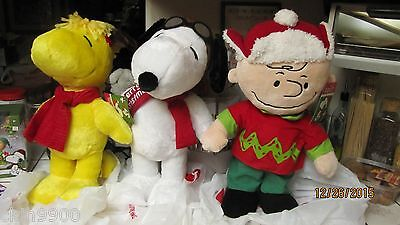 Peanuts Holiday Christmas Plush Snoopy Charlie Brown & Woodstock Greeters 20""