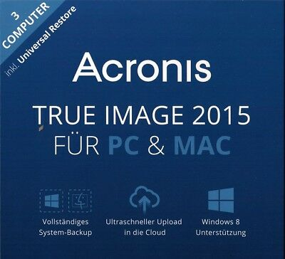 Acronis True Image 2015 3 PC / MAC Backup & Recovery  Vollversion  Deutsch / KEY