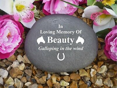 Horse Memorial - Personalised Large Pebble (Stone Effect) Weatherproof - Horse 2
