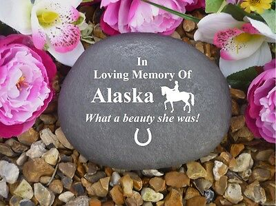 Horse Memorial - Personalised Large Pebble (Stone Effect) Weatherproof -Dressage