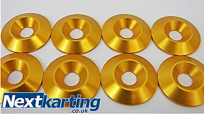 Kart Alloy CSK 30 x 5 x 8mm Seat Washers M8 Gold  x 8 - NextKarting