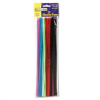 "Regular Stems, 12"" x 4mm, Metal Wire, Polyester, Assorted, 100/Pack  2 Pack"