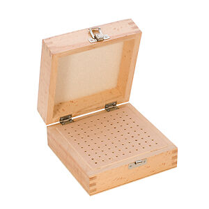 Wood Storage Box, 100 Holes, 5-1/2 by 5-1/2 Inches   PKG-100.00