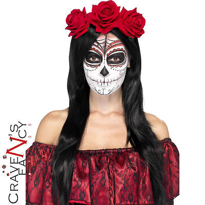 Ladies Day of the Dead Red Rose Headband Halloween Head Band