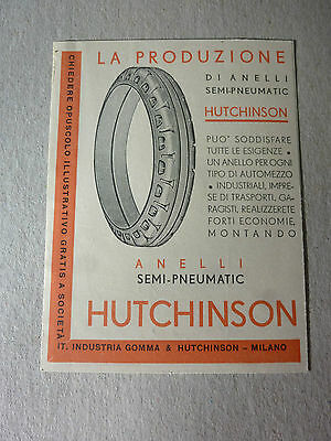 Advertising Pubblicita' Pneumatici Hutchinson   -- 1932