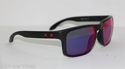 Oakley Sunglasses HOLBROOK 9102-36 55 MATTE BLACK / RED IRIDIUM MIRRORED NEW