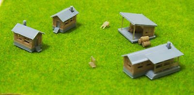 Outland Models Railway Miniature Rural Farm House Cottage Shed Set Z Scale 1:220