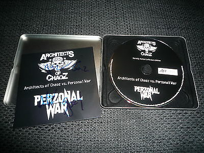 """ARCHITECTS OF CHAOZ Paul Di´Anno signed Autogramm LIMITIERT """"PERZONAL WAR"""" CD"""