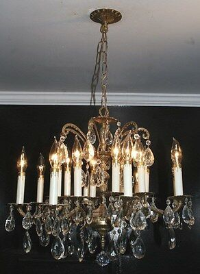 antique Spain immaculate brass crystal glass 8 arm 16 light fixture chandelier