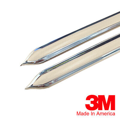 "Vintage Style 5/8"" Beige & Chrome Side Body Trim Molding - Formed Pointed Ends"