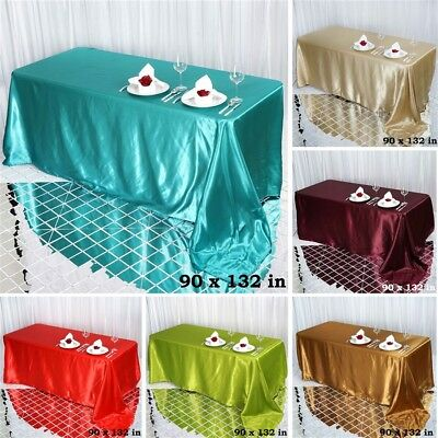 "20 pcs Wholesale Lot 90x132"" RECTANGLE Satin TABLECLOTHS Wedding Party Linens"