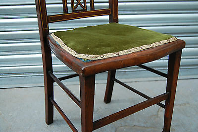 Edwardian mahogany decorative bedroom / stand chair with authentic green seat
