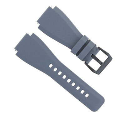 24Mm Silicone Rubber Watch Band Strap For Bell Ross Br-01-Br-03 Watch Grey Black