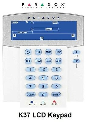 Paradox Security Alarm System – K37 32-Zone Wireless Fixed LCD Keypad