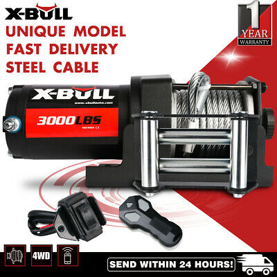 X-BULL Winch Steel Cable 3000LBS/1360kg Electric Winch ATV 4WD 2 REMOTES 12V