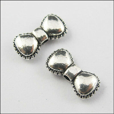 15Pcs Antiqued Silver Tone Bow Tie Spacer Beads Charms Craft DIY 5.5x11.5mm