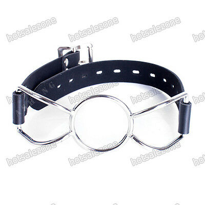 Quality PU Leather Chromium Plated O Ring Open Mouth Ring Gag Bondage restraints