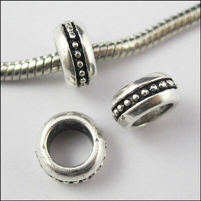 10Pcs Antiqued Silver Round Dots 6mm Hole Spacer Bead Charms Fit Bracelet 10mm
