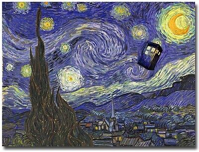 "Doctor Who Tardis in Van Gogh Starry Night Poster on Silk Fabric Canvas 32""x 24"""