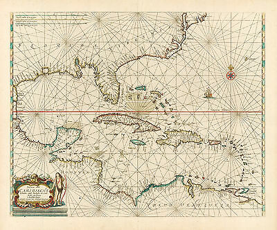 HJB-AntiqueMaps : Map of the Caribbean by: Doncker 1659