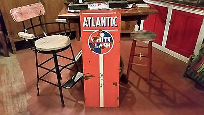 Rare 1930s Vintage Atlantic White Flash Vertical 41 x 15 Orange Gas Station Sign