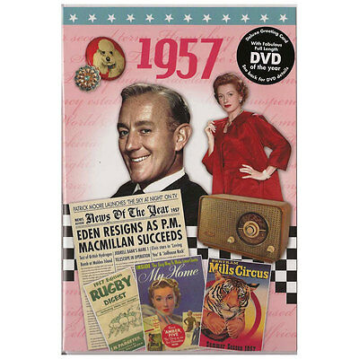 60th Diamond Wedding Anniversary gift ~ Reminisce 1957 with DVD and Card in one