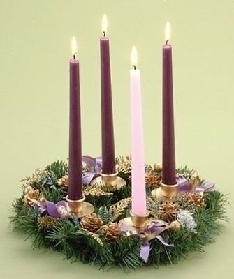 Advent Wreath - Purple Ribbon W/o Candles, New, Free Shipping